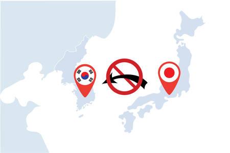 Concept image of Japan - South Korea trade war, Japan Export ban, Boycott conflict, Vector illustration