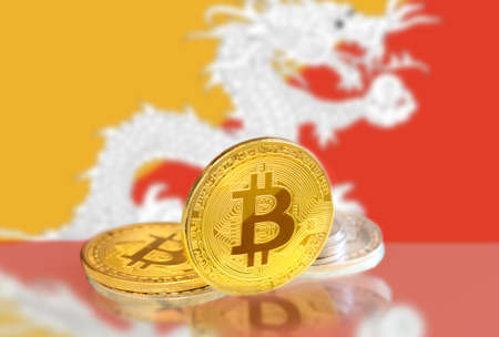 Bitcoin coins on Bhutan 's Flag, Cryptocurrency, Digital money concept photo Archivio Fotografico