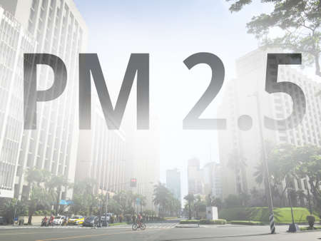 Smog city from PM 2.5 dust. Cityscape with bad air pollution, PM 2.5 concept photo, in Makati city, Manila, Philippines