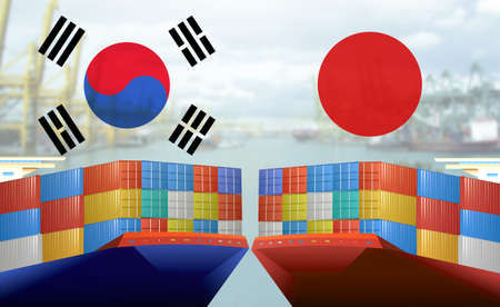 Concept image of Japan - South Korea trade war, Japan Export ban, Boycott Economy conflict, Tensions