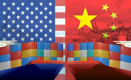 Concept image of USA-China trade war, Economy conflict, US tariffs on exports to China, Trade frictions Stok Fotoğraf - 133804912