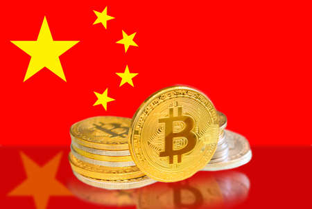 Bitcoin coins on China s Flag, Cryptocurrency, Digital money concept photo