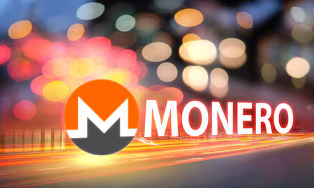 Concept of MONERO coin moving fast on the road, a Cryptocurrency blockchain platform, Digital money Stock fotó