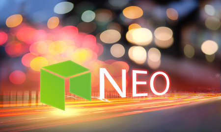 Concept of NEO coin moving fast on the road, a Cryptocurrency blockchain platform, Digital money