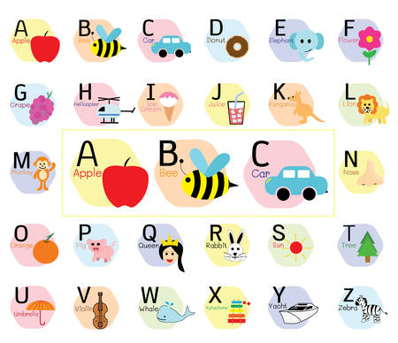 Cute ABC alphabet, Simple flat cartoon style vector illustration