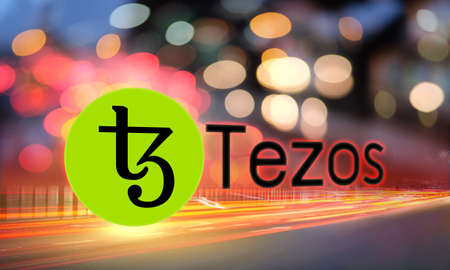 Concept of Tezos coin moving fast on the road, a Cryptocurrency blockchain platform, Digital money