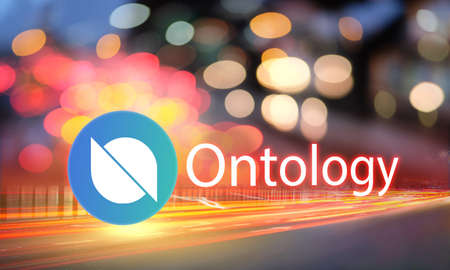 Concept of Ontology coin moving fast on the road, a Cryptocurrency blockchain platform, Digital money Stock fotó