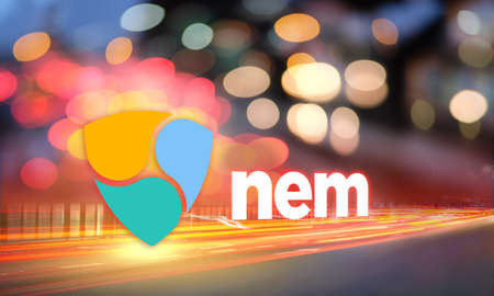Concept of NEM coin moving fast on the road, a Cryptocurrency blockchain platform, Digital money Stock fotó