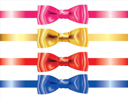 Set of Realistic Ribbon bows Bows on White Background. 3D Realistic design