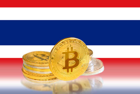 Bitcoin coins on Thailand s Flag, Cryptocurrency, Digital money concept photo