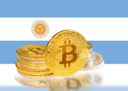 Bitcoin coins on Argentina s Flag, Cryptocurrency, Digital money concept photo