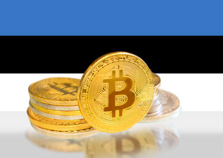 Bitcoin coins on Estonia s Flag, Cryptocurrency, Digital money concept photo