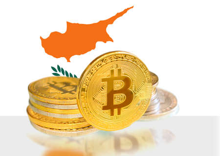 Bitcoin coins on Cypruss Flag, Cryptocurrency, Digital money concept photo Stock fotó