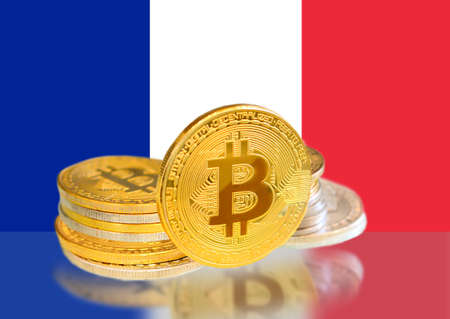 Bitcoin coins on France s Flag, Cryptocurrency, Digital money concept photo