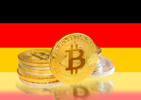 Bitcoin coins on Germany s Flag, Cryptocurrency, Digital money concept photo