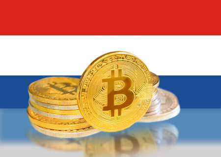 Bitcoin coins on Netherlands Flag, Cryptocurrency, Digital money concept