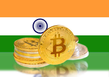 Bitcoin coins on Indias Flag, Cryptocurrency, Digital money concept photo