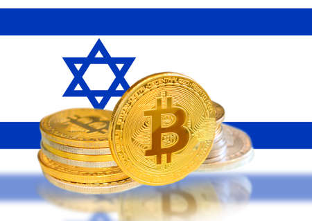 Bitcoin coins on Israel s Flag, Cryptocurrency, Digital money concept photo