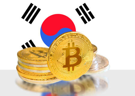 Bitcoin coins on Korea s Flag, Cryptocurrency, Digital money concept photo Stock fotó