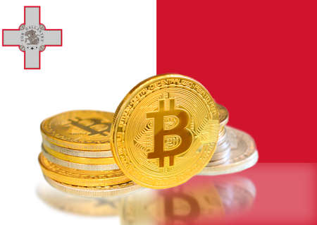 Bitcoin coins on Malta s Flag, Cryptocurrency, Digital money concept photo