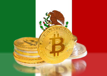 Bitcoin coins on Mexicos Flag, Cryptocurrency, Digital money concept photo