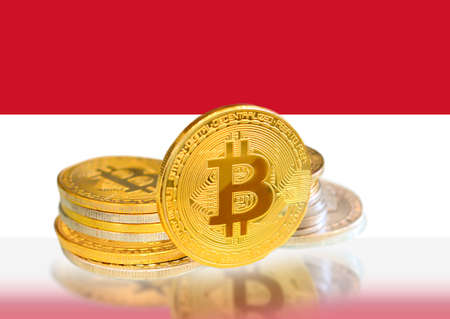 Bitcoin coins on Indonesia s Flag, Cryptocurrency, Digital money concept photo