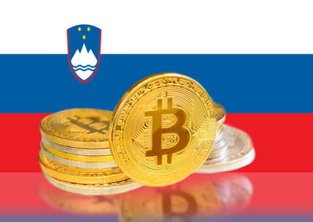 Bitcoin coins on Slovenias Flag, Cryptocurrency, Digital money concept photo