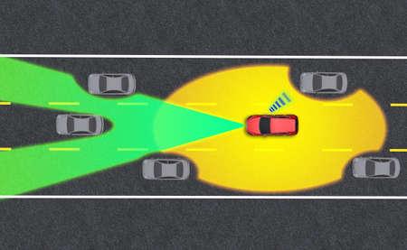 Smart car, Autopilot, self-driving mode vehicle with Radar signal system and and wireless communication, Autonomous car Zdjęcie Seryjne