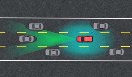 Smart car, Autopilot, self-driving mode vehicle with Radar signal system and and wireless communication, Autonomous car Standard-Bild