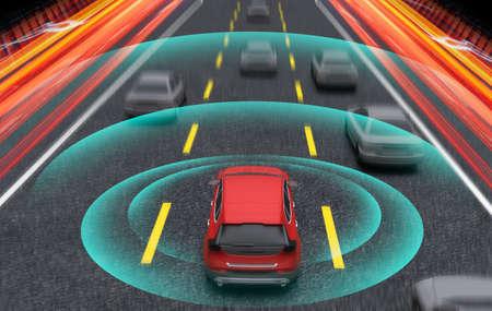 Coche inteligente, piloto automático, vehículo en modo de conducción autónoma con sistema de señal de radar y comunicación inalámbrica, ilustración de renderizado 3D.