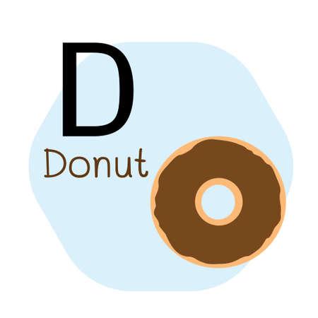 D for Donut alphabet, Cute Simple flat cartoon style vector illustration
