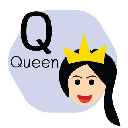 Q for Queen alphabet, Cute Simple flat cartoon style vector illustration Çizim