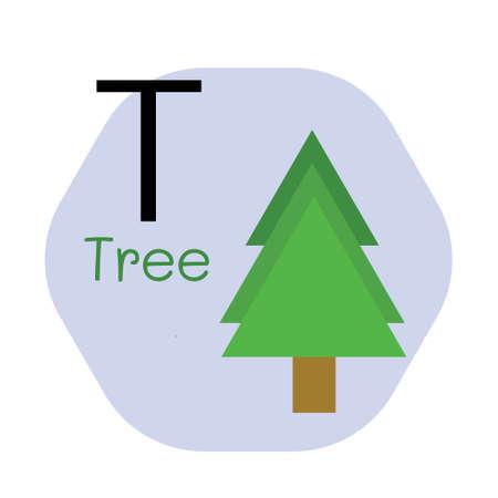 T for Tree alphabet, Cute Simple flat cartoon style vector illustration Çizim