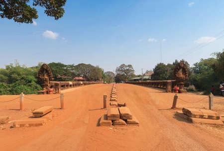 Preah Tis Bridge in Kampong Kdei town, Cambodia