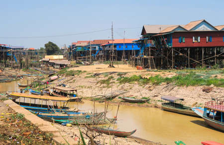 Kampong Phluk floating village, stilt houses, Tonle Sap lake, Siem Reap, Cambodia
