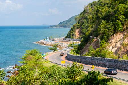 Noen Nangphaya Viewpoint with road and sea at Chanthaburi province, Thailand