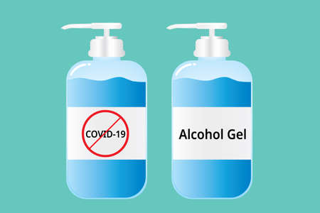 Hand wash gel, Alcohol Gel bottle design, Anti Corona virus, COVID-19 vector