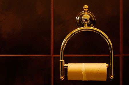 Finished toilet roll in a luxurious bathroom Stock Photo