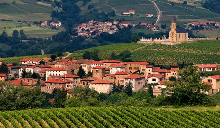 Village in the famous winemaking region of Beaujolais in France.