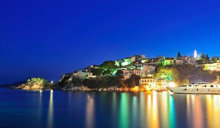 skiathos: Night picture taken on the Greek island of Skiathos Stock Photo