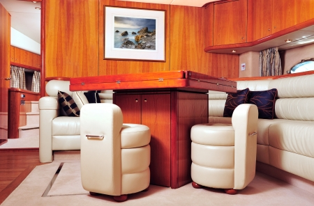 seating furniture: Interior picture of a luxury yacht