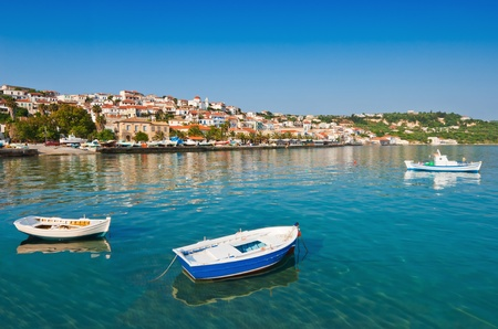 The fishing town of Koroni, in southern Greece, captured under a clear morning sky