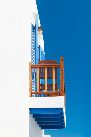 Balcony from a house on a Greek Cycladic island photo