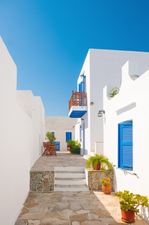 Colorful alleyway from a town on the island of Sifnos, Greece