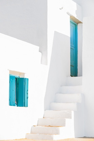 Detail from a typical traditional house in Sifnos island, Greece.  Stock Photo