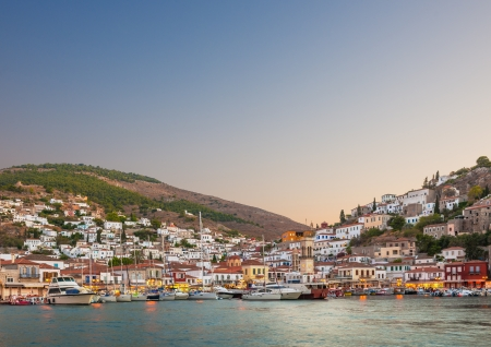 Early evening view of the main town on the island of Hydra, Greece