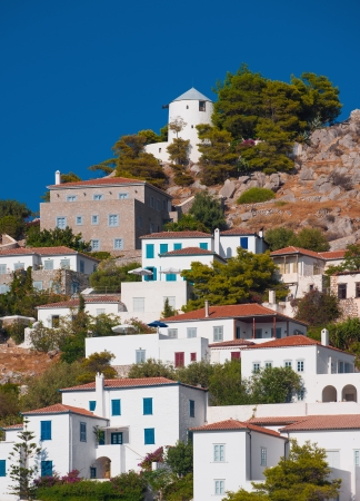 View of a picturesque village on the Greek island of Hydra