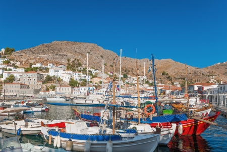 Morning view of the port of the island of Hydra, Greece Standard-Bild