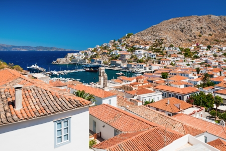 Overview of the beautiful island of Hydra, Greece, showing its main town and port Stock Photo