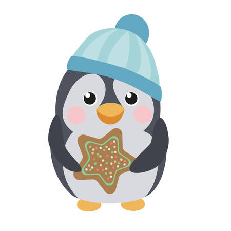 Cute penguin with a gingerbread